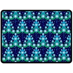 Christmas Tree Snow Green Blue Fleece Blanket (large)  by Mariart