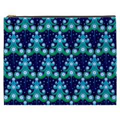 Christmas Tree Snow Green Blue Cosmetic Bag (xxxl)  by Mariart