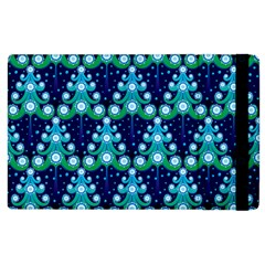 Christmas Tree Snow Green Blue Apple Ipad 2 Flip Case by Mariart