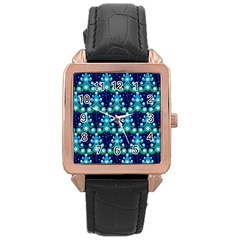 Christmas Tree Snow Green Blue Rose Gold Leather Watch  by Mariart