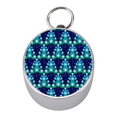 Christmas Tree Snow Green Blue Mini Silver Compasses by Mariart