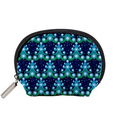 Christmas Tree Snow Green Blue Accessory Pouches (small)  by Mariart