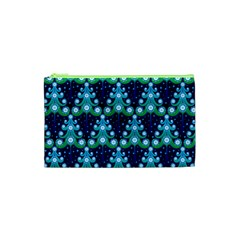 Christmas Tree Snow Green Blue Cosmetic Bag (xs) by Mariart