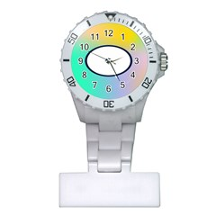 Illustrated Circle Round Polka Rainbow Plastic Nurses Watch by Mariart