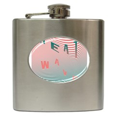 Heat Wave Chevron Waves Red Green Hip Flask (6 Oz) by Mariart
