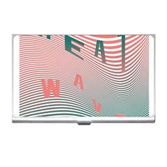 Heat Wave Chevron Waves Red Green Business Card Holders by Mariart