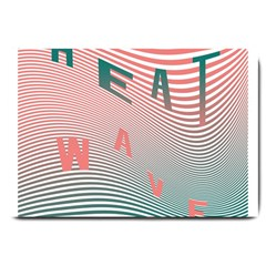 Heat Wave Chevron Waves Red Green Large Doormat  by Mariart