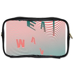 Heat Wave Chevron Waves Red Green Toiletries Bags by Mariart