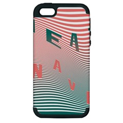 Heat Wave Chevron Waves Red Green Apple Iphone 5 Hardshell Case (pc+silicone) by Mariart