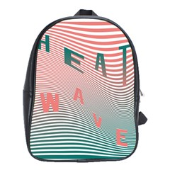 Heat Wave Chevron Waves Red Green School Bags (xl)  by Mariart