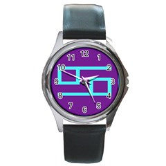 Illustrated Position Purple Blue Star Zodiac Round Metal Watch by Mariart