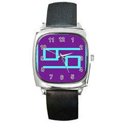 Illustrated Position Purple Blue Star Zodiac Square Metal Watch by Mariart