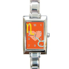 Illustrated Zodiac Love Heart Orange Yellow Blue Rectangle Italian Charm Watch by Mariart