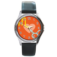 Illustrated Zodiac Love Heart Orange Yellow Blue Round Metal Watch by Mariart