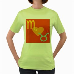 Illustrated Zodiac Love Heart Orange Yellow Blue Women s Green T Shirt by Mariart