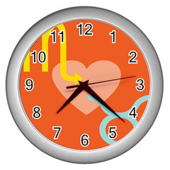 Illustrated Zodiac Love Heart Orange Yellow Blue Wall Clocks (silver)  by Mariart