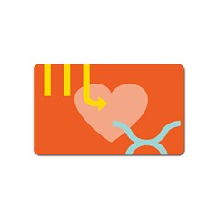 Illustrated Zodiac Love Heart Orange Yellow Blue Magnet (name Card) by Mariart