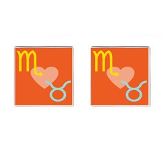 Illustrated Zodiac Love Heart Orange Yellow Blue Cufflinks (square) by Mariart