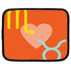 Illustrated Zodiac Love Heart Orange Yellow Blue Netbook Case (xl)  by Mariart