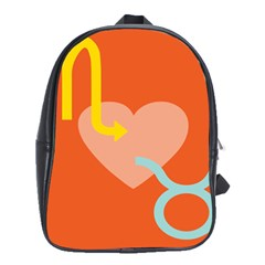 Illustrated Zodiac Love Heart Orange Yellow Blue School Bags(large)