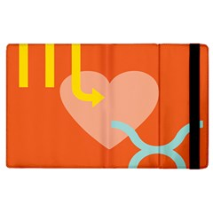 Illustrated Zodiac Love Heart Orange Yellow Blue Apple Ipad 2 Flip Case by Mariart