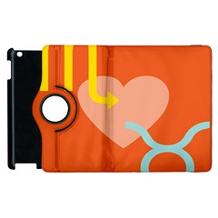 Illustrated Zodiac Love Heart Orange Yellow Blue Apple Ipad 2 Flip 360 Case by Mariart