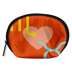 Illustrated Zodiac Love Heart Orange Yellow Blue Accessory Pouches (medium)  by Mariart