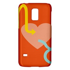 Illustrated Zodiac Love Heart Orange Yellow Blue Galaxy S5 Mini by Mariart