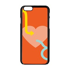 Illustrated Zodiac Love Heart Orange Yellow Blue Apple Iphone 6/6s Black Enamel Case by Mariart