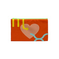 Illustrated Zodiac Love Heart Orange Yellow Blue Cosmetic Bag (xs) by Mariart