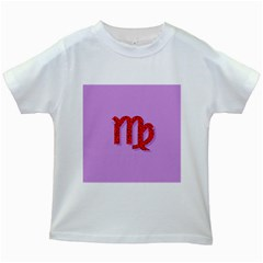 Illustrated Zodiac Purple Red Star Polka Kids White T Shirts by Mariart