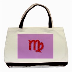 Illustrated Zodiac Purple Red Star Polka Basic Tote Bag by Mariart
