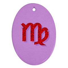 Illustrated Zodiac Purple Red Star Polka Oval Ornament (two Sides) by Mariart