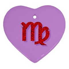 Illustrated Zodiac Purple Red Star Polka Heart Ornament (two Sides) by Mariart