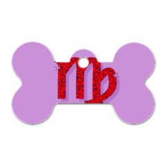 Illustrated Zodiac Purple Red Star Polka Dog Tag Bone (one Side) by Mariart