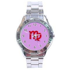 Illustrated Zodiac Purple Red Star Polka Stainless Steel Analogue Watch by Mariart