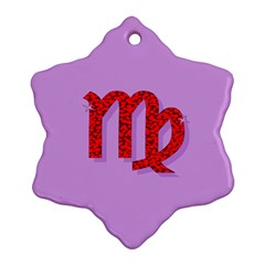 Illustrated Zodiac Purple Red Star Polka Ornament (snowflake) by Mariart