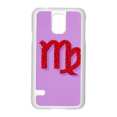 Illustrated Zodiac Purple Red Star Polka Samsung Galaxy S5 Case (white) by Mariart