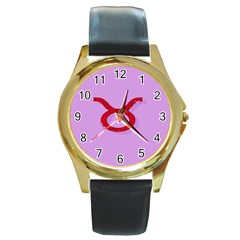 Illustrated Zodiac Purple Red Star Polka Circle Round Gold Metal Watch by Mariart