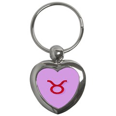Illustrated Zodiac Purple Red Star Polka Circle Key Chains (heart)  by Mariart