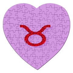 Illustrated Zodiac Purple Red Star Polka Circle Jigsaw Puzzle (heart)