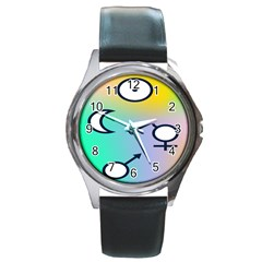 Illustrated Moon Circle Polka Dot Rainbow Round Metal Watch by Mariart