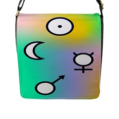 Illustrated Moon Circle Polka Dot Rainbow Flap Messenger Bag (l)  by Mariart