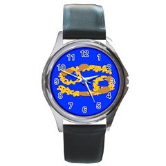 Illustrated 69 Blue Yellow Star Zodiac Round Metal Watch by Mariart