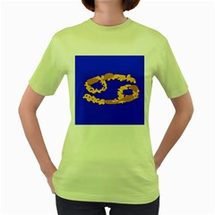 Illustrated 69 Blue Yellow Star Zodiac Women s Green T Shirt by Mariart