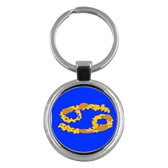 Illustrated 69 Blue Yellow Star Zodiac Key Chains (round)  by Mariart