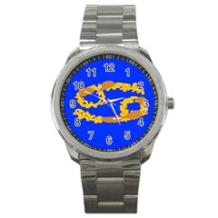 Illustrated 69 Blue Yellow Star Zodiac Sport Metal Watch by Mariart
