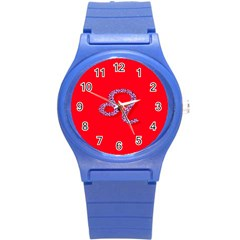 Illustrated Zodiac Red Purple Star Polka Dot Round Plastic Sport Watch (s) by Mariart