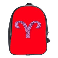 Illustrated Zodiac Red Star Purple School Bags(large)