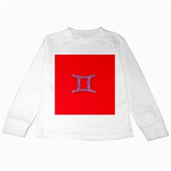 Illustrated Zodiac Red Purple Star Polka Dot Grey Kids Long Sleeve T-shirts by Mariart